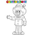 coloring book with cheerful clown 3 vector image vector image
