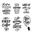 cup quote emblem set vector image vector image