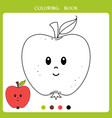 cute apple for coloring book vector image vector image