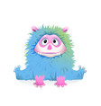 cute blue fluffy bamonster mascot for kids vector image vector image