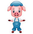 cute pig cartoon waving vector image vector image