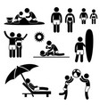 family summer beach holiday vacation icon symbol vector image vector image