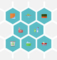 Flat icons wisp laundry clothes washing and vector image