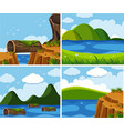 four scenes of ocean at day time vector image