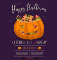 halloween party poster with scary pumpkin vector image vector image