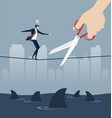 hand cutting rope in business risk concept vector image vector image