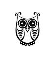 hand drawn owl doodle black and white entangle vector image