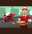 man delivering pizza vector image