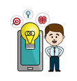 man with smartphone idea bulb and health mental vector image vector image
