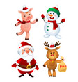 merry christmas santa claus pig snowman and vector image vector image