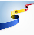moldovan flag wavy abstract background vector image vector image
