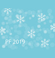 pf 2019 with white snow flakes and snow ballson vector image vector image