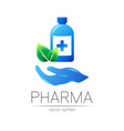 pharmacy symbol with blue bottle and cross vector image vector image