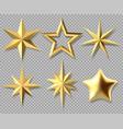 realistic christmas stars golden xmas glossy 3d vector image vector image