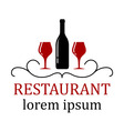 restaurant background with wine glass and bottle vector image vector image