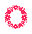 round frame made of blooming flowers icon vector image