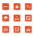 rugged terrain icons set grunge style vector image vector image