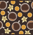 seamless pattern with coffee vanilla and orange vector image vector image