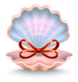 seashell with red ribbon symbol gift card vector image