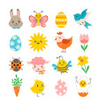 Set cute spring design elements for easter