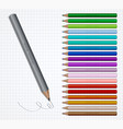 set of coloured pencils on grid vector image vector image
