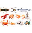 set of fresh seafood vector image vector image