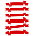 set of six red cartoon ribbons for web design vector image vector image