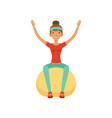 sportive young woman character training with vector image vector image