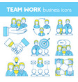 teamwork set of line icons vector image vector image