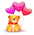 Teddy bear with balloons vector image vector image