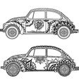 Vintage car in Tangle Patterns style vector image vector image