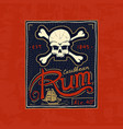 vintage rum label badge strong alcohol logo with vector image vector image
