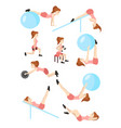 young beautiful girl goes in for sports shakes the vector image
