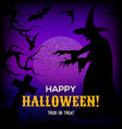 halloween background with silhouette of witch vector image