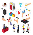 party isometric icons collection vector image