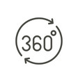 360 degrees icon line rotation angle symbo vector image
