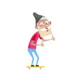bearded old man on skateboard character vector image vector image