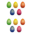 big set easter eggs multicolored easter eggs with vector image