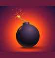 black bomb on orange background vector image vector image