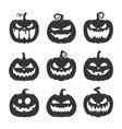 black pumpkin with face icon set vector image