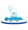 blue silhouette police car service with cloud and vector image