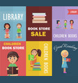 bookstore sale and children library with readers vector image