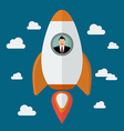 Businessman on a rocket vector image vector image