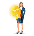 businesswoman with light idea bulb vector image vector image