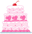 Cake With Two Red Hearts vector image