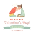 Card with kissing couple vector image vector image