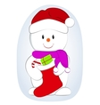 cartoon of a cute snowman with vector image vector image