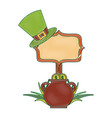 cauldron gold coins green hat and sing board vector image vector image