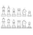 chess piece icon set outline style vector image vector image