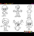 children characters set coloring book vector image vector image